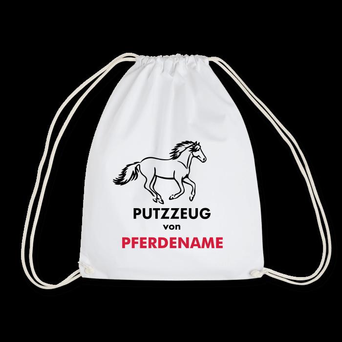 Putztasche mit Pferdename (Motiv Galopp)